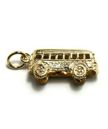 Gold Vermeil over Sterling Silver Bus Keepsake Gift Charm Pendant - $19.50