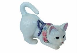Lefton Cat Kitten sculpture Japan floral flower collar milk White vtg de... - $48.33