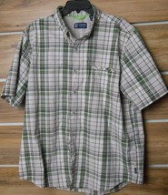 Ralph Lauren Chaps Men's S/S Button Shirt Size XL Khaki Grey Green Plaid Fishing - $8.23