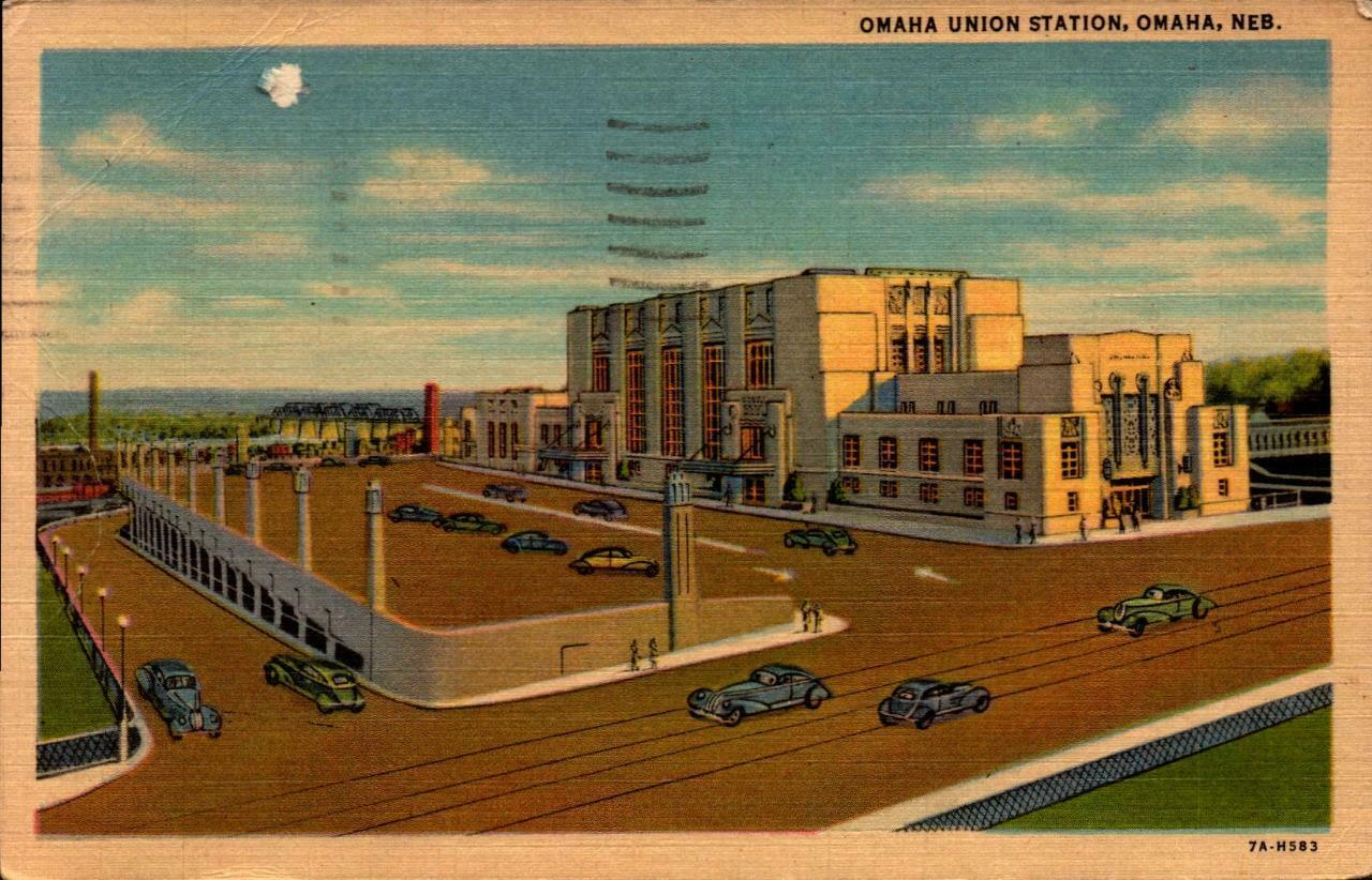 Primary image for LINEN POSTCARD- OMAHA UNION STATION, OMAHA, NE BK23