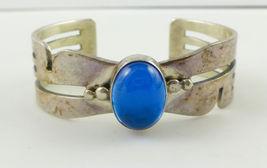 BLUE Oval Cabochon Gemstone Sterling Silver CUFF BRACELET - Southwestern - $105.00