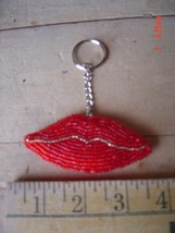 Beaded Key Chain - RED LIPS - KISS - HOT LIPS - Lot of TWO (2) - $9.89