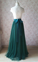 Dark Green Wedding Tulle Skirt with Bow Dark Green Bridesmaid Long Tulle Skirts image 4