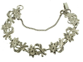 ANTIQUE DECO STERLING MARCASITE FLOWERS LEAVES RHODIUM PLATED LINK BRACE... - $144.89