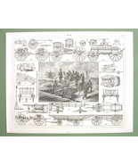 MILITARY Carriages Forges Prussian Artillery - 1844 Original Steel Engra... - $14.85