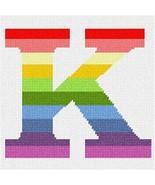 pepita Letter K Pastel Stripes Needlepoint Canvas - $40.00