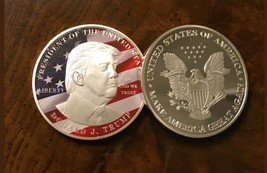 <TRUMP>(BIG DOLLAR SIZE 40MM) COLORIZED DETAIL Coin W/CASE~U.S SELLER~ - $11.19