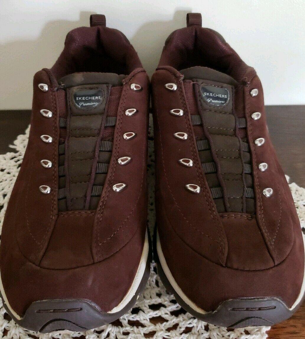 Skechers Sport Brand ~ Premiere ~ Brown Slip On Sneakers ~ Women's Size 7.5