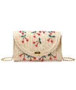 Summer Cherry Straw Beach Vacay Crossbody Bags - $19.99