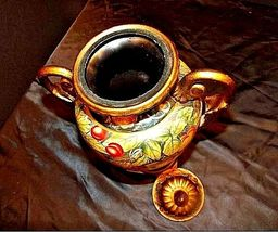 Ceramic hand paintedd Vase with Lid AA18-1265 VintageDouble Handled image 5