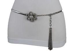 Tassel Waist Fashion Hip Dressy Silver Metal Chain Belt Flower Bling Buckle M L - $15.67