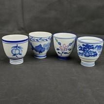4 VTG Blue White Ceramic Sake Tea Cups Mugs Fish Fruit Floral Landscape ... - $19.34
