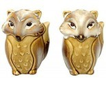 Foxes Salt and Pepper Shakers Beige Ceramic Natures Home