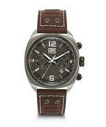 NEW FRYE MEN'S MOTO ENGINEER STAINLESS STEEL CHRONOGRAPH WATCH WITH BROW... - $197.95