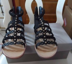 Franco Sarto black strap sandals with heal zipper style Beryl size 6.5M - $23.00