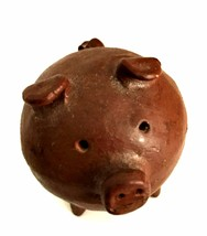 Vintage Little Brown Pig Hand Crafted 2.25 inches Tall Folk Art Ceramic ... - $34.64
