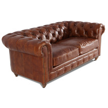 MarquessLife 100% Genuine Antique Leather Tufted Handmade Couch  Loveseat Sofa
