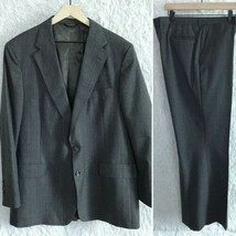 Palm Beach 2 Piece Wool Suit Gray Glen Check Windowpane 2 Button Mens 46... - $76.22