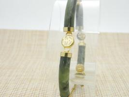 Raw Polished Aquamarine Asian Style Gold Tone Bracelet Vintage - $24.74
