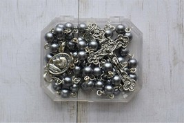 Silver Prayer Rosary Beads - Pope John Paul II / 6mm Gray Glass Rosary -... - $19.95