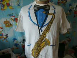 Vintage 80's Saxophone Tuxedo T Shirt XL  - $68.31