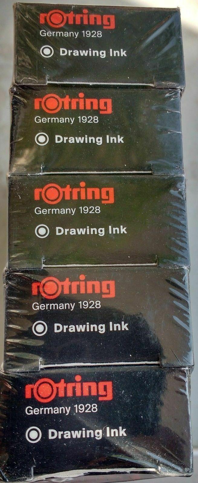 "Rotring ink bottle 23 ml WHITE ""pack of 5"" new"