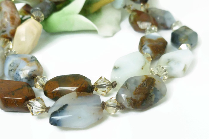 Sage Amethyst Agate Faceted Polished Nugget Gemstone Necklace