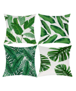 4 Tropical Green Leaves Throw Pillow Covers Outdoor Patio Pillow Decorat... - £20.05 GBP