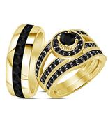 Bridal & Groom Engagement Ring Trio Set Black Diamond 18k Gold Plated 92... - $156.88
