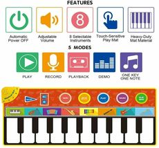 Cyiecw Piano Music Mat w/19 Keys, 8 Musical Instruments, Speaker & Recording image 3