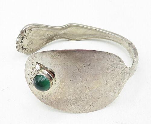 925 Silver - Vintage Green Carnelian Accented Petite Spoon Cuff Bracelet - B5008
