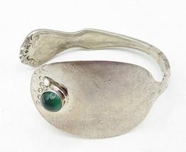 925 Silver - Vintage Green Carnelian Accented Petite Spoon Cuff Bracelet... - $35.25
