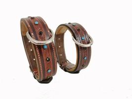 "Shwaan Genuine Tooled Leather Dog Collar Floral Pattern handmade L 18"" -... - $23.00"