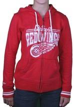 Mitchell & Ness Damen Distressed Vintage Detroit Hockey Rot Flügel Kapuze Groß image 2