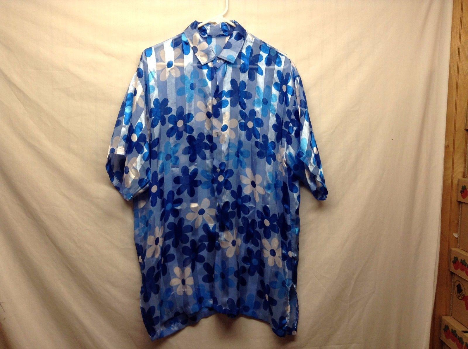 Very LG Dark/Light Blue w White Floral Design Short Sleeve Summer Shirt