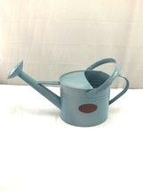 Tin watering can blue planter home decor photo prop - $79.20