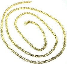 """18K YELLOW GOLD CHAIN TYGER EYE LINKS THICKNESS 3mm, 0.12"""" LENGTH 45cm, 17.7""""  image 1"""