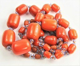 "34"" VINTAGE ESTATE Jewelry RARE GRADUATED ORANGE BAKELITE BARREL BEAD NE... - $325.00"