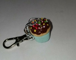 Chocolate Frosted Cupcake Keychain Cake Charm Accessory Clip On - $7.50
