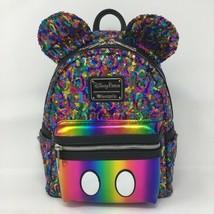 NEW Disney Parks Rainbow Mickey Sequin Mini Backpack Loungefly - $69.25