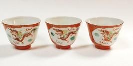 SET OF 3 JAPANESE KUTANI PORCELAIN DRAGON PHOENIX SAKAZUKI TEA SAKE CUPS - $14.99