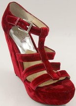 Michael Kors Faye Red Velvet wedge Women's Sandals Sz 8.5 M shoes - $51.29