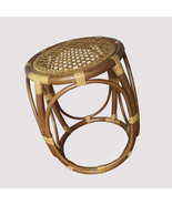 Rattan round stool bobby color mat dark brown handmade home furniture 4  2  thumbtall