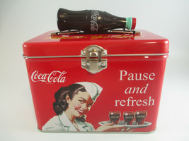 Coca-Cola Train Case Plastic Bottle Handle Latching Close Tin Pause and Refresh - $8.42