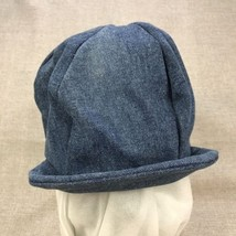 Unisex One Size Newsboy Cap Blue Denim Fitted Stretch Jean Cabbie Hat St... - $14.80