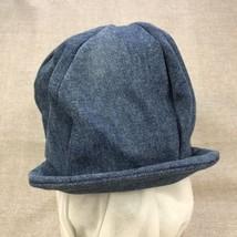Unisex One Size Newsboy Cap Blue Denim Fitted Stretch Jean Cabbie Hat St... - $14.80