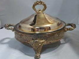 Anchor Round Glass Casserole Buffet Silverplate Serving Dish w/Lid Raise... - $27.67