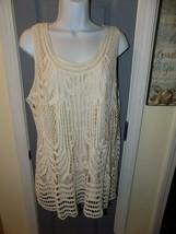CJ BANKS Beige Crochet Lace Lined Sleeveless Top Size 1X Women's EUC - $27.30