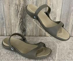 Crocs Sandals Women's Size 9 Brown/Beige Slip-On Open Toe Open Back  - $21.77