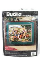 Bucilla Needlepoint Kit Round Up Horse Cowboy Western Cattle Drive 16 x ... - $39.59